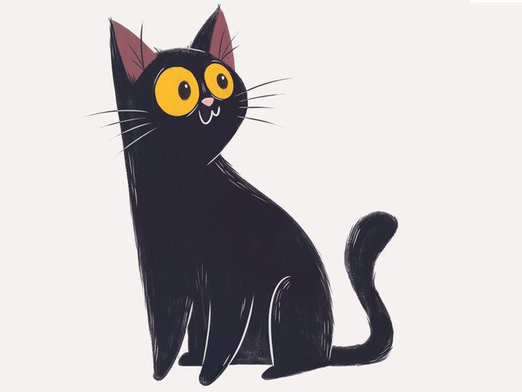 Черный котенок рисунок