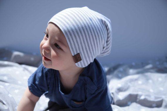 Bambeanie  Grey Stripes  Slouchy beanie  Slouchy hat  by LouMarine