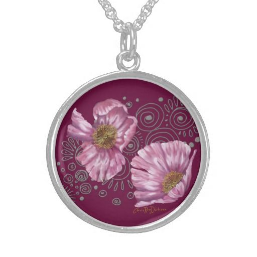 Looking for something special for your friends birthday?  Perhaps your mother has everything and you're at a loss as to what to buy her next.  Look no further!  This Pink Poppies on Silver Spirals Personalized Necklace is 100% sterling silver and at $99.85 makes a perfect gift to remember.
