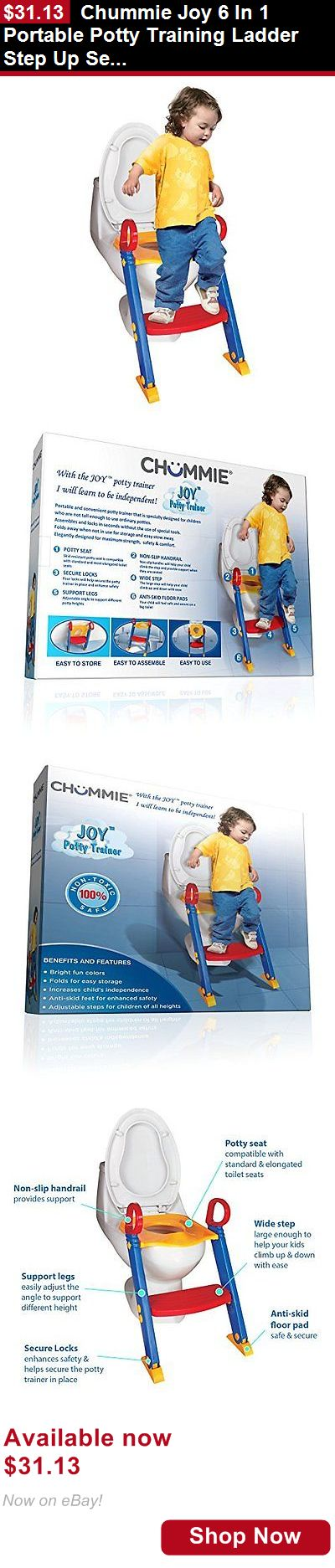 Potty Training: Chummie Joy 6 In 1 Portable Potty Training Ladder Step Up Seat For Boys And G... BUY IT NOW ONLY: $31.13