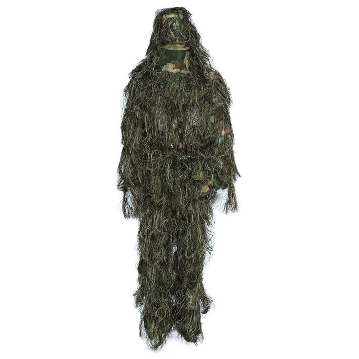 Ghillie Suit Hunting Woodland 3D Bionic Leaf Disguise Uniform CS Camouflage Suits Set Sniper Jungle Military Train Hunting Cloth