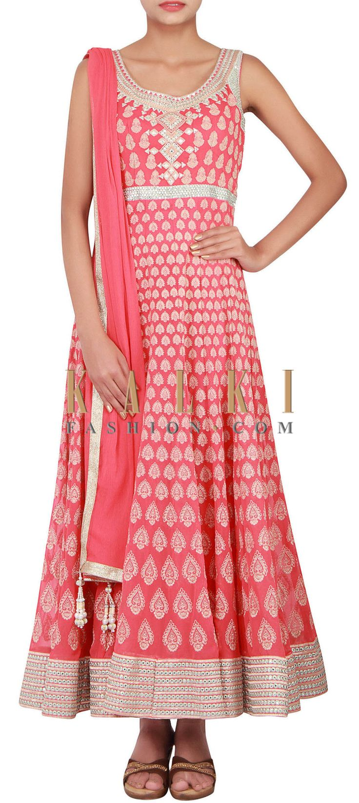 Buy Online from the link below. We ship worldwide (Free Shipping over US$100) http://www.kalkifashion.com/catalog/product/view/id/14842/s/coral-anarkali-embellished-in-resham-and-zari-only-on-kalki/