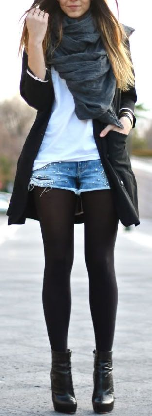 fall outfit ideas / leather booties   dark gray scarf