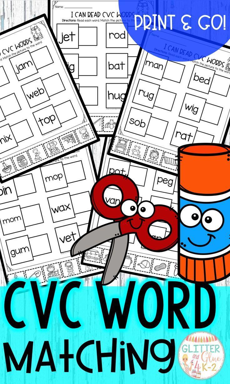 Cvc Word Matching No Prep Cvc Words Reading Cvc Words Cvc Word Activities [ 1226 x 736 Pixel ]