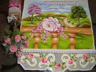 Artes em Crochê e Pintura: Aula de pintura em tecido