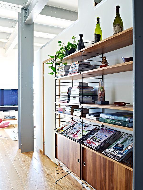 Grote wandkast voor boeken - platen - cd's - gezelschapspelletjes - decoratie + Fan van string systeem
