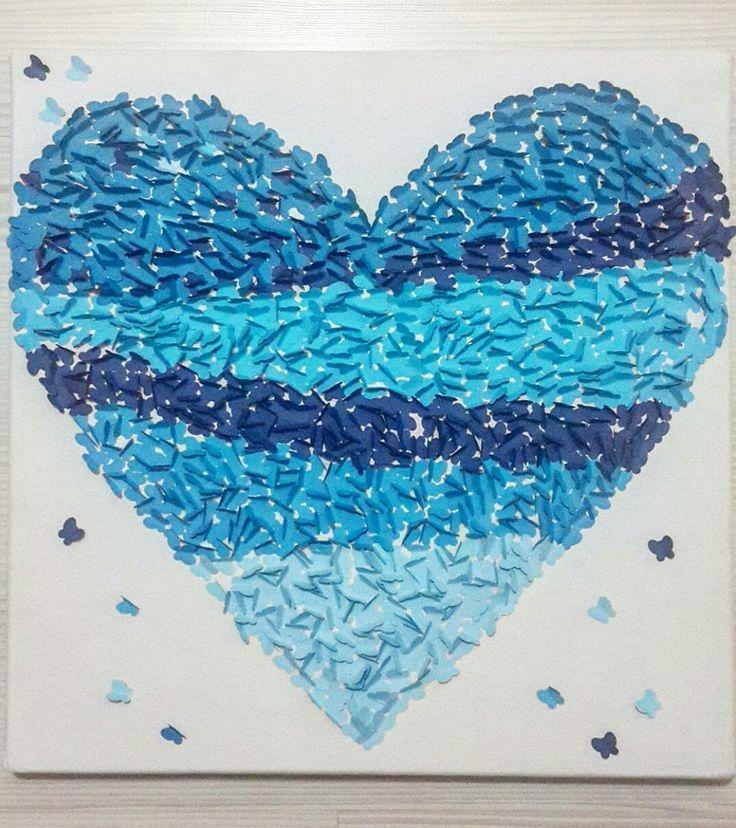#kalp #blue #mavi #kelebek #tuval