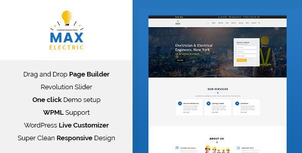 Max Electric v1.1  Electrician WordPress Theme  Blogger Template