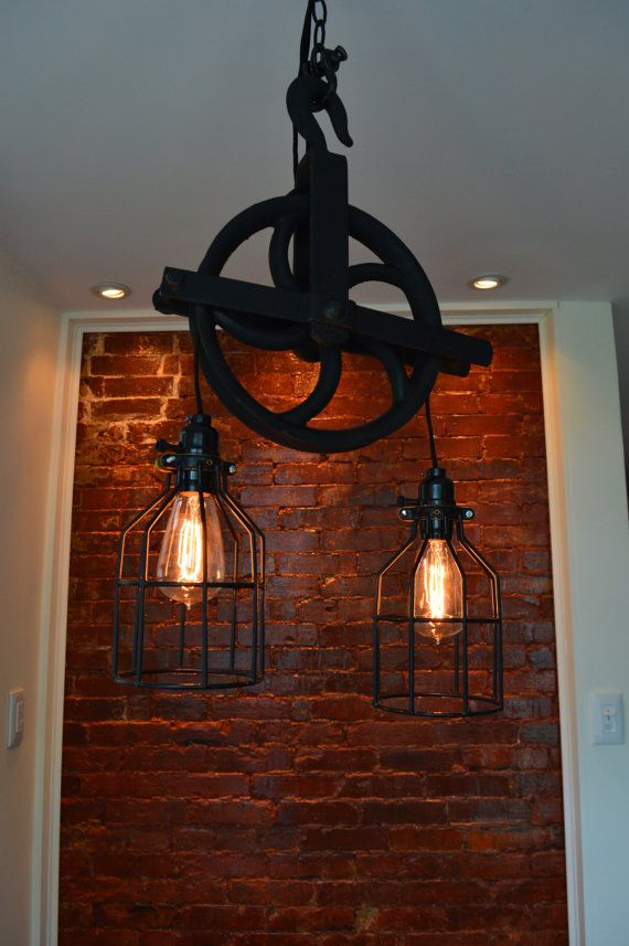 Repurposed Barn Pulley Industrial Light Swag by WestNinthVintage, $185.00