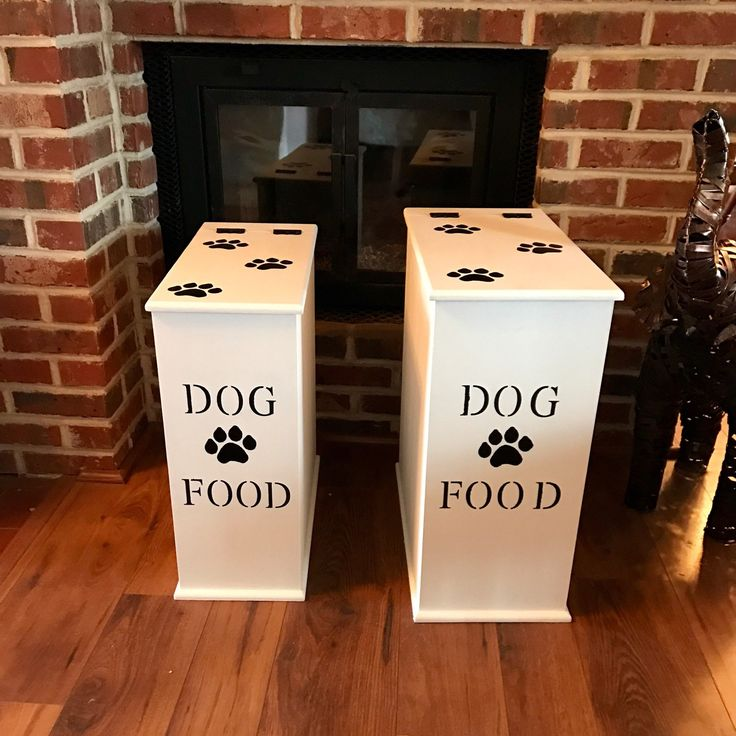 Pure white dog food bins