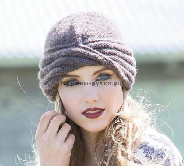 Вязаная спицами шапка-чалма Williams Cloche