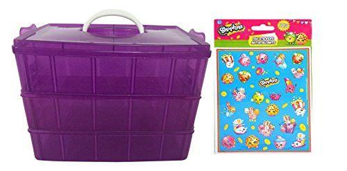 Purple Glitter Glitzi Plastic Organizer Storage Case With Fold Down Handle + 100 Shopkins Stickers