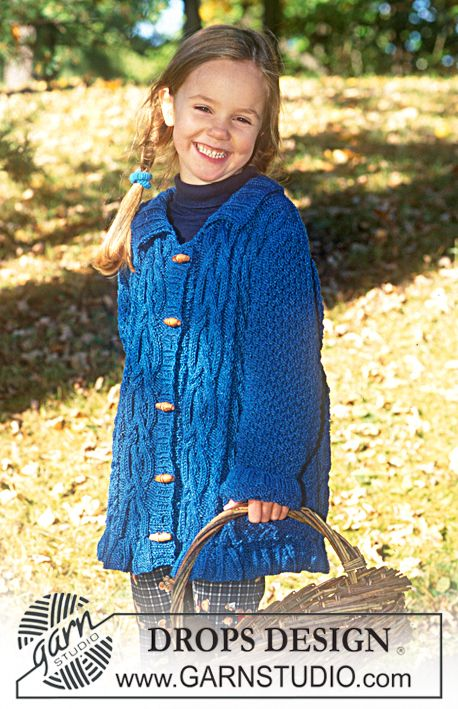 Long sweater with cables in Den-M-Nit ~ DROPS Design