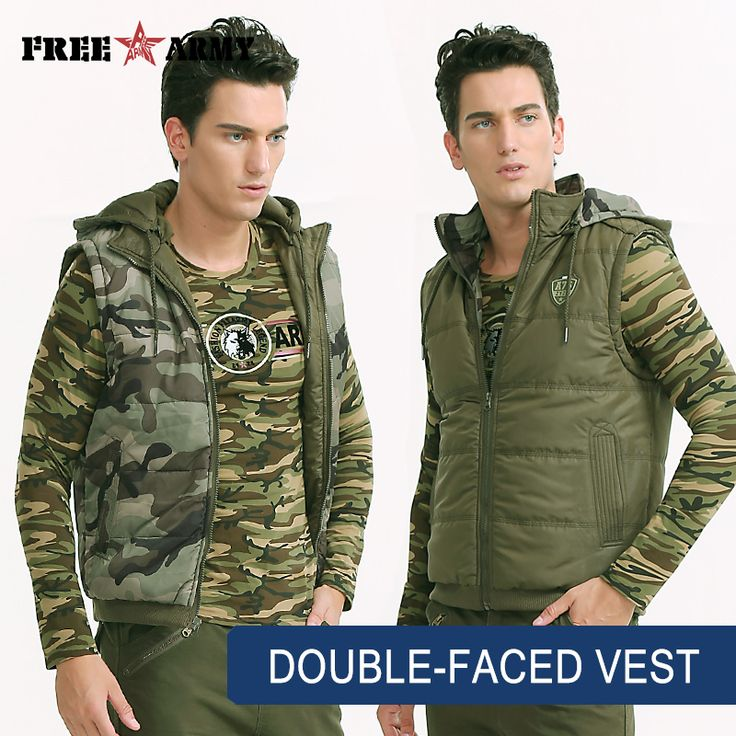 Brand Winter Vest Men Hooded Double-Faced Vest Waistcoat Men Sleeveless Jacket Cotton Two Sides Vests Outerwear & Coats Ms-6357A