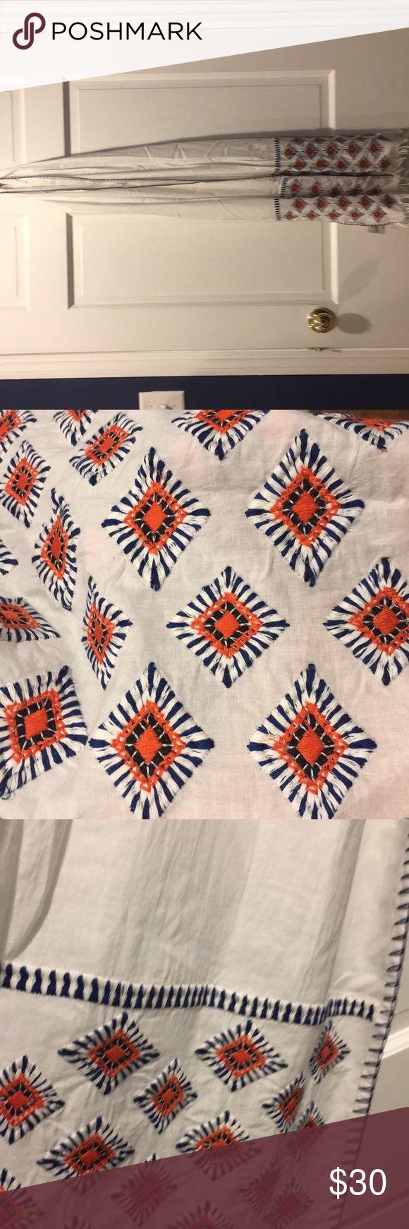 Jcrew NWT white blue and orange scarf Jcrew NWT white blue and orange scarf J. Crew Accessories Scarves & Wraps