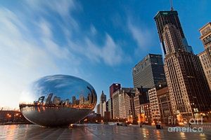 Cities Photograph - Chicago Skyline And Bean At Sunrise by Sven Brogren