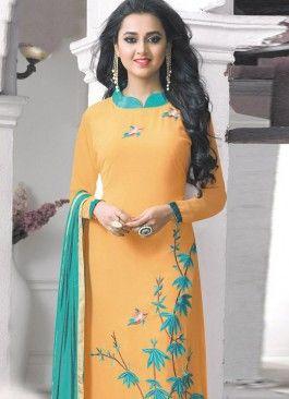 Blooming Orange and Green Coloured  Georgette Semi-Stitched Designer Salwar Suit