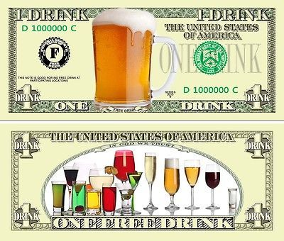 money for beers or wines