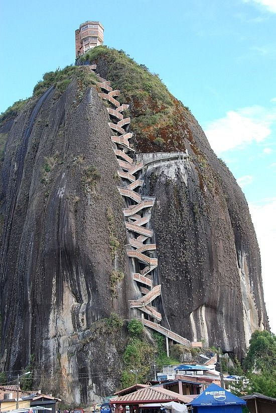 El Piedra de Penol, Medellin, Colombia ... at 200 metres, the third largest monolithic rock in the world  -  definitely Not  climbing up there