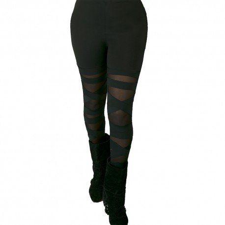 Leggings enrejados con paneles transparentes.Material(es) 70% Elastano y 30% Malla. Color(es) Negro.