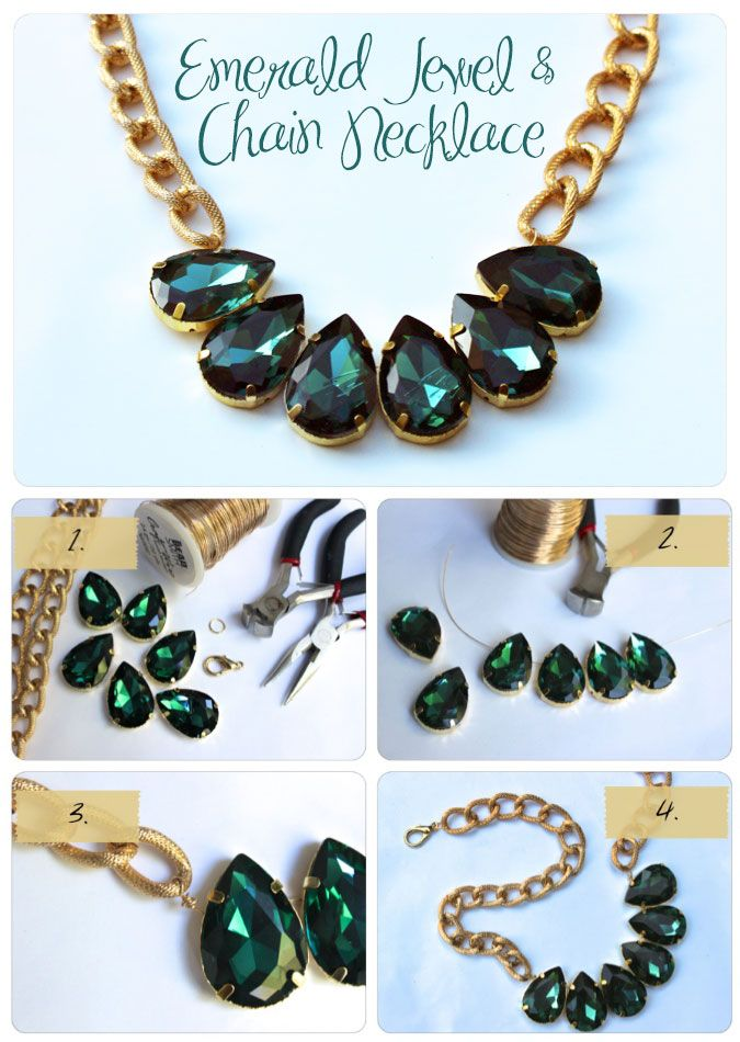 7 DIY fashion projects - Emerald jewel necklace
