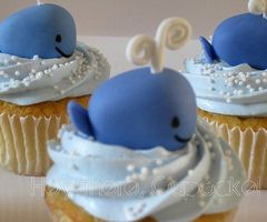 Whale :) I'm doing whales for babies nursery! Super cute cupcake to eat until he…