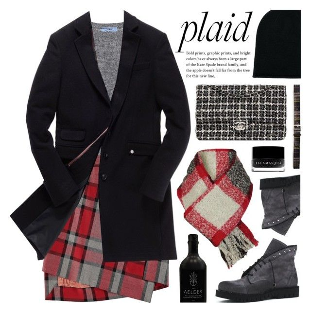 """Plaid"" by deepwinter ❤ liked on Polyvore featuring Prada, Vivienne Westwood Red Label, Superdry, Chanel, Pringle of Scotland, Orciani, Illamasqua, Woolrich and plaid"