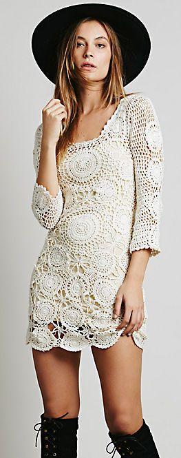 Vintage 70's bohemian crochet lace three quarter length sleeves mini wedding dress design inspiration // love those boots!