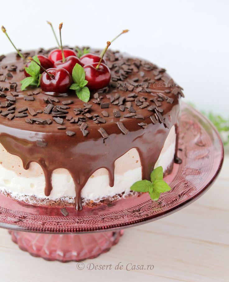 Tort de inghetata cu cirese si ciocolata - Desert De Casa - Mara Popa