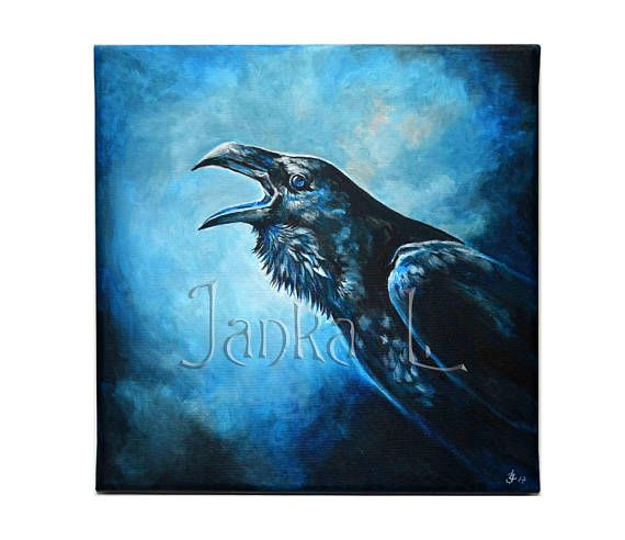 Original acrylic painting on canvas  Raven black bird nature