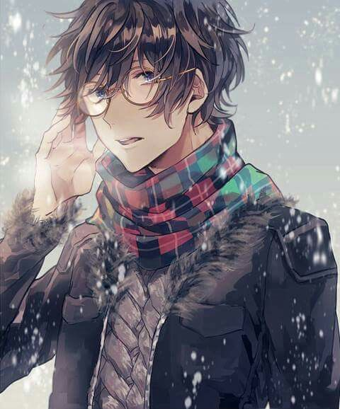 Winter. Guy. Cold. Scarf. Glasses. Snow | Cute anime guys ...