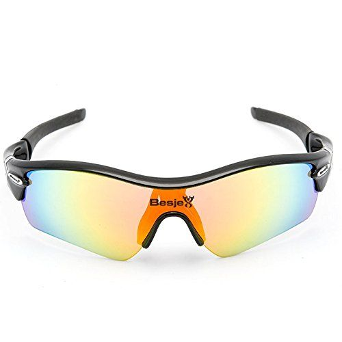 Besjex Polarized Sports Sunglasses with 5 Interchangeable for Men Women Cycling Baseball Biking Driving Fishing Golf Running Glasses UV400 Protection Goggles