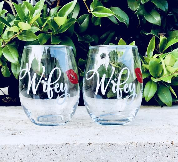 Set Of Two Wifey Stemless Wine Glasses The Perfect Gift For