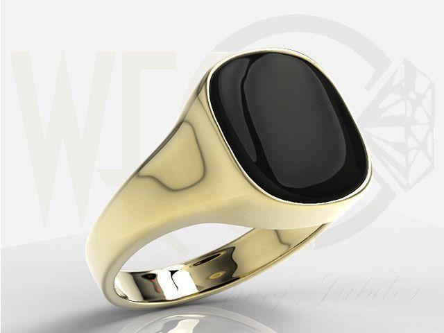 """Sygnet z żółtego złota z płytką onyksu w kształcie """"telewizorka"""" / Signet ring made from yellow gold / 1862 PLN / #gold #signet_ring #zloto # bizuteria #sygnet #jewellery #jewelry"""