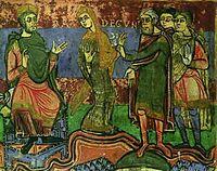 """Radegonde est amenée devant Clotaire. Vie de Ste Radegonde, 11°s/ Lors du partage de la Thuringe, les 2 rois se disputent âprement la princesse Radegonde, mais Clotaire la récupère, du fait qu'elle a été capturée par ses hommes. Il la fait conduire en Vermandois. Lorsque Clotaire veut la recevoir , elle profite de la nuit pour s'enfuir . En 538 elle est amenée à Soissons pour épouser le roi, en tant que """"reine non illégitime mais légitime"""", qui voit se confirmer sa domination sur la Thuringe"""