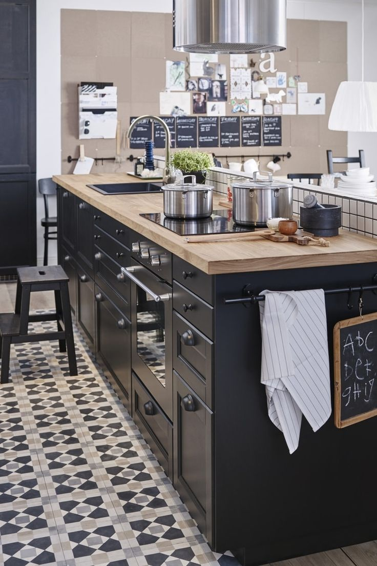 Kitchen paint colors with black cabinets - Cuisine Metod Laxarby D Ikea Plus Ikea Ikeaikea Hackblack Cabinetskitchen