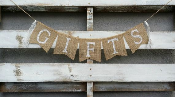 Gifts Burlap Banner Gifts Sign Rustic by LittleZebrasBoutique, $15.00