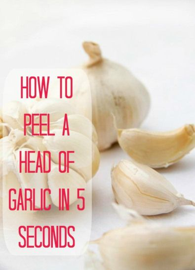 Peel garlic quick! Here's an easy food prep tip...just put the garlic in a sealed container (example, a mason jar) and shake the daylights out of it. Once you stop shaking it, you just open the container and the peelings should be separated from the garlic!