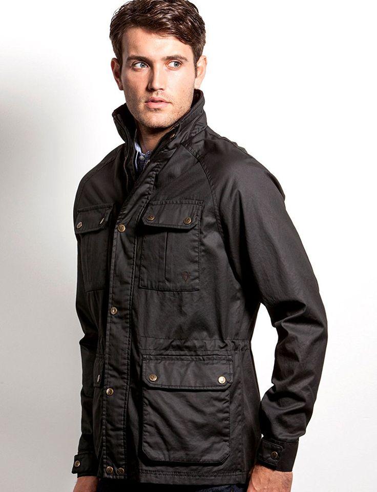 VEDONEIRE Mens Wax Jacket (3050 BLACK) motorbike style coat waxed designer at Amazon Men's Clothing store: Down Alternative Outerwear Coats