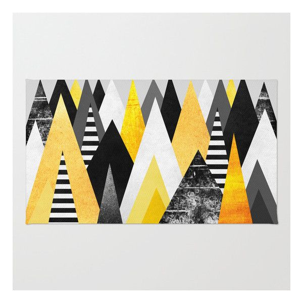 Yellow Peaks Rug (180 CNY) ❤ liked on Polyvore featuring home, rugs, abstract area rugs, yellow chevron area rug, chevron rugs, machine washable rugs and non skid area rugs