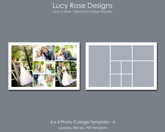 6 x 4 Photo Collage Template - 6 - $3
