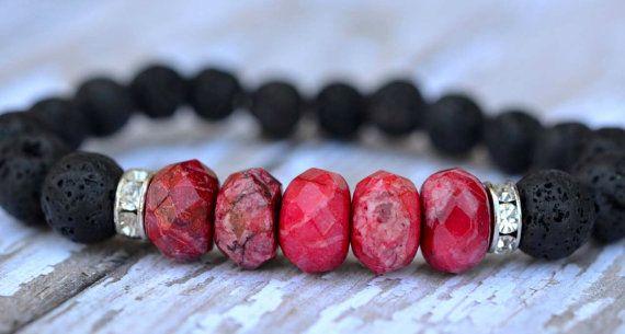 Impression Jasper Pink Faceted Beads Rhinestone, Black Lava Rock, Stretch bracelet by Cheshujewelry $28.00