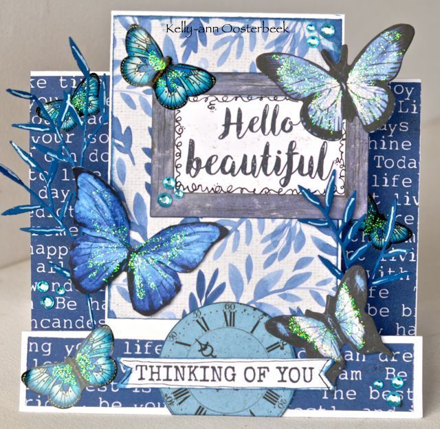 A Step Card by Kelly-ann Oosterbeek made using the Indigo Skies Collection from Kaisercraft and Imaginarium Designs Chipboard www.kellyanno.com