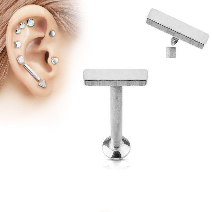 2x6mm Silver Bar Labret Stud Lip Monroe Tragus Bar, Internally Threaded Cartilage Bar