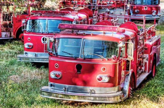The LA County FD Boneyards in the foothills above Los Angeles basin is home to around two dozen vintage fire trucks from a different era.