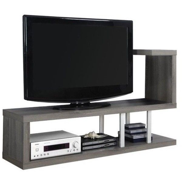 "Monarch 60"""" TV Console ($164) ❤ liked on Polyvore featuring home, furniture, storage & shelves, entertainment units, grey, flat panel tv stand, media cabinet, media console, media storage cabinet and gray tv stand"