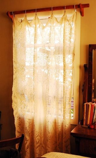 table cloths into curtains... thrift store finds?