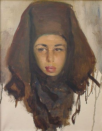 """JOSE CRUZ HERRERA  Title : """"MAROCCAN GIRL"""" ( In Spanish : """"Joven Marroqui"""")     Not signed    Measurements :  45 x 35 cm.  18 x 13 3/4 inches (only canvas)    Provenance: Directly From the painter"""