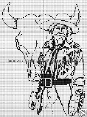 Bead Pattern Western Cowboy Hunter Skull Loom 019. This is