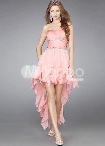 Glamorous Short Pink Strapless Chiffon Womens Homecoming Dress  US$76.99